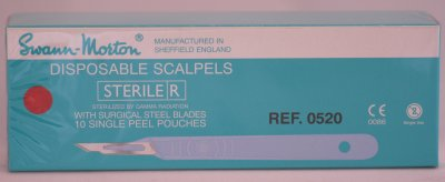 Swann Morton No 15A Sterile Disposable Scalpels 0520