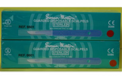 Swann Morton No 10 Guarded Sterile Disposable Scalpels 6601