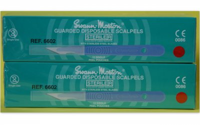 Swann Morton No 10A Guarded Sterile Disposable Scalpels 6602