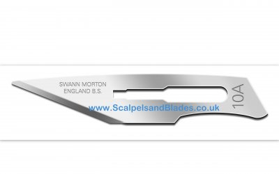 * Box of 100  No 10A Non Sterile Carbon Steel Scalpel Blade Swann Morton.. Product No 0102 *