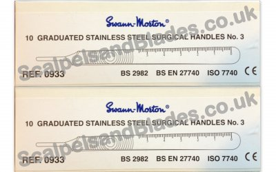 2 or 6 Boxes of 10 Swann Morton No3 Stainless Handles 0933 / 20 / 60