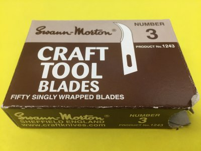 Box of 50 No 3 Craft Tool Blades Swann Morton Product No 1243 CLR